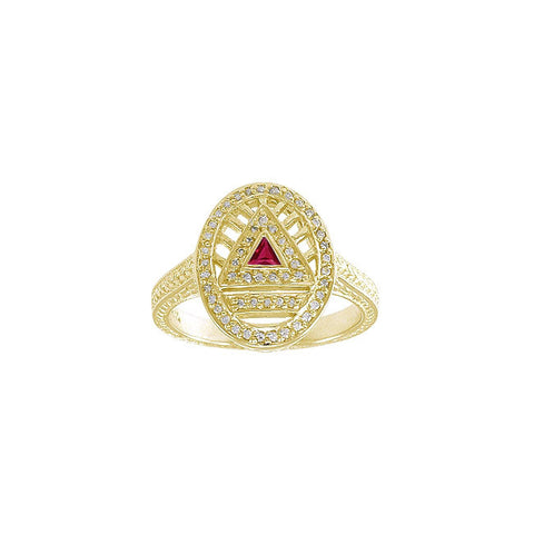 GIN 14K Gold Plated System Ring (Created Ruby)