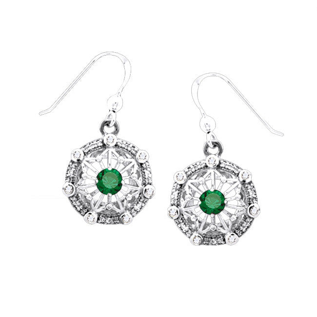 GIN Silver Tetra Ear Ring Set (Emerald Glass)