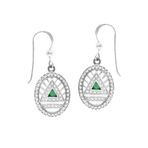 GIN Silver System Ear Ring Set (Emerald Glass)