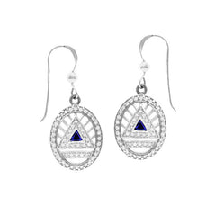 GIN Silver System Ear Ring Set (Created Sapphire)