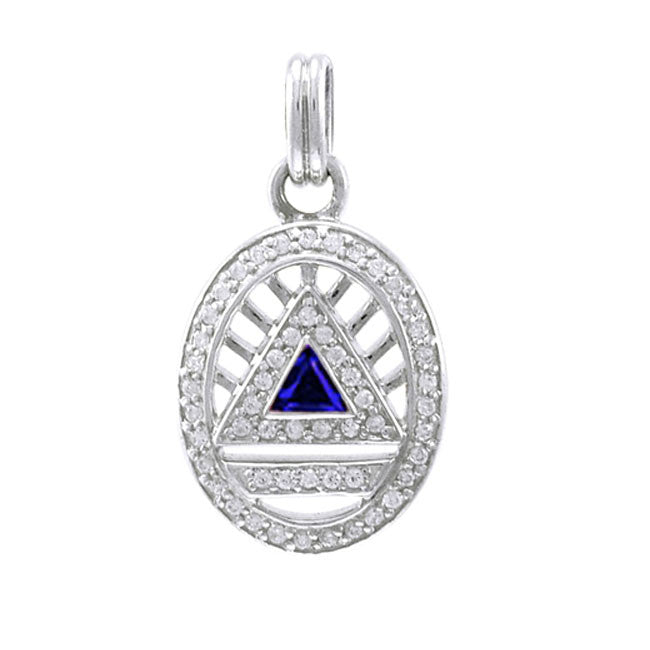 Silver System Pendant- Small (Created Sapphire)