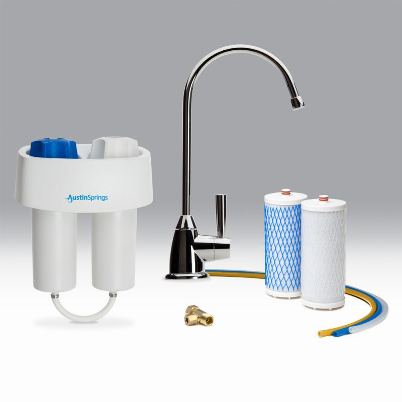 Under Counter Water Filter with Chrome Faucet