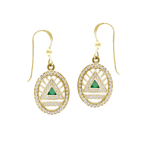 GIN 14K Gold Plated System Ear Ring Set (Emerald Glass)