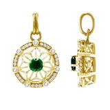 GIN 14K Gold Plated Tetra Pendant (Emerald Glass)