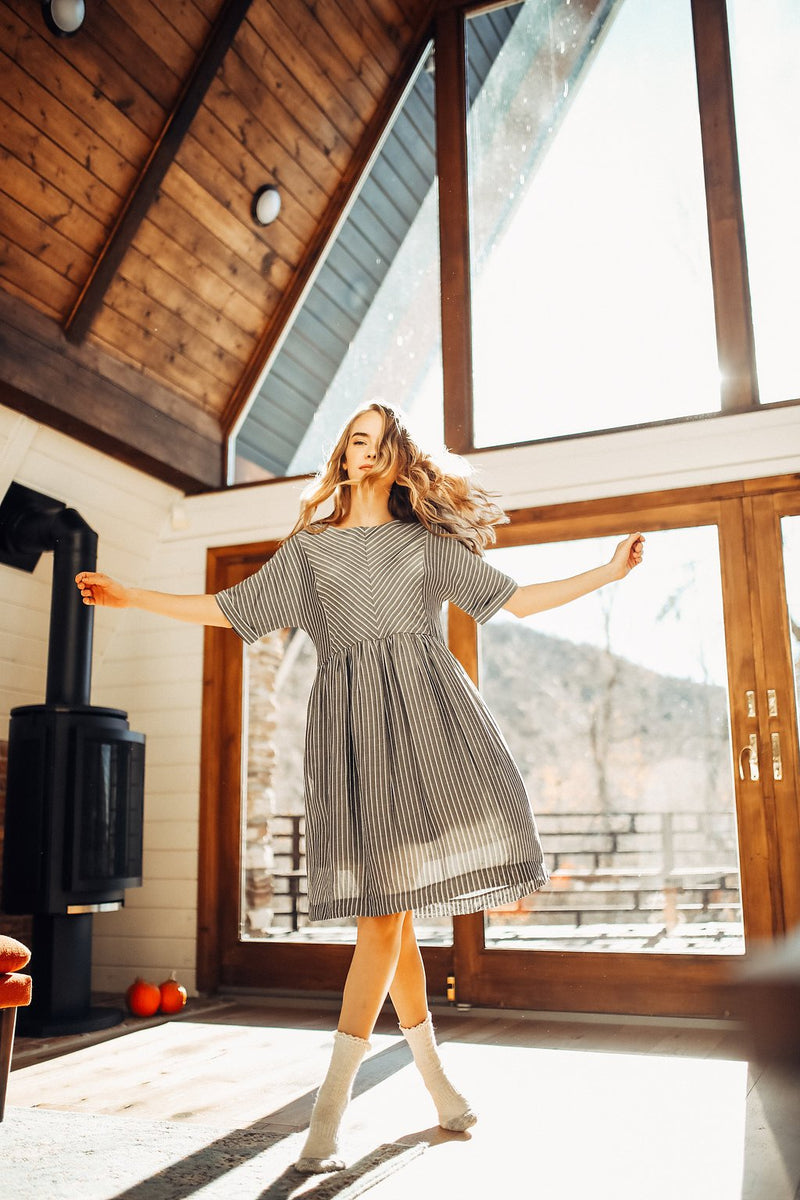 P.S. Dress Introduction: The Waterford Dress in Grey and White