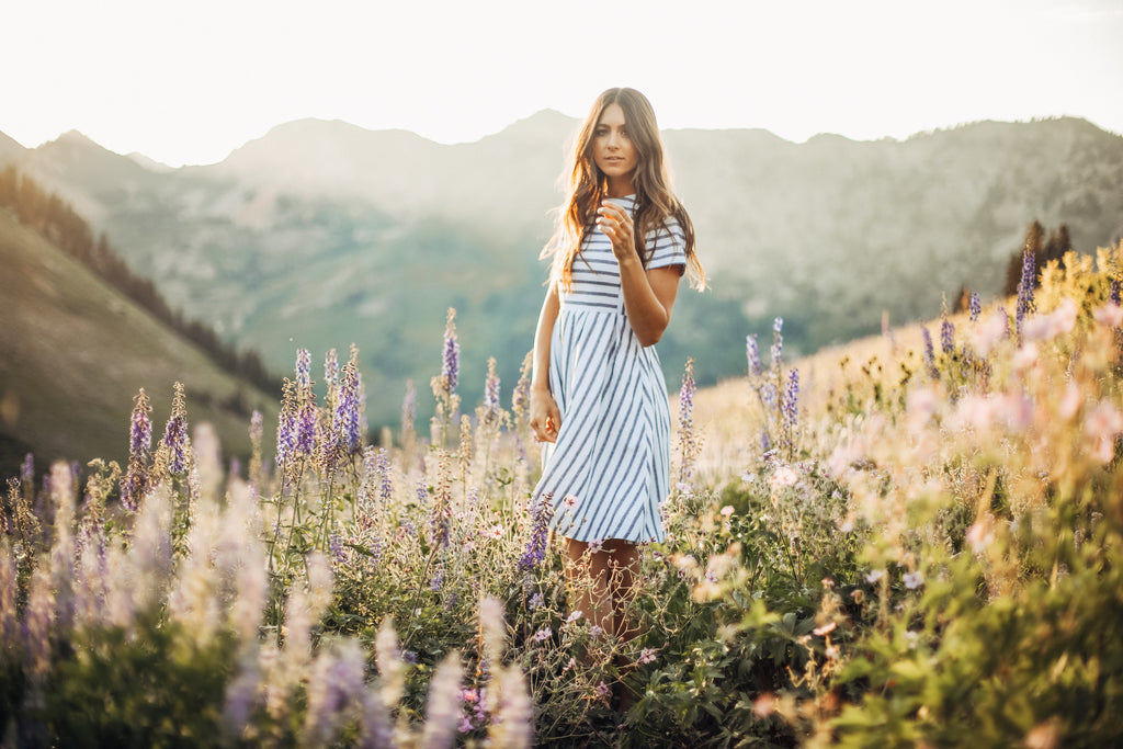 The festival dress, a striped modest dress from Piper & Scoot