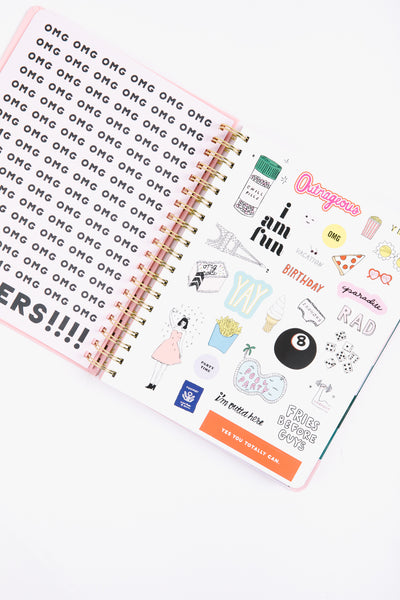 sticker pages inside a planner