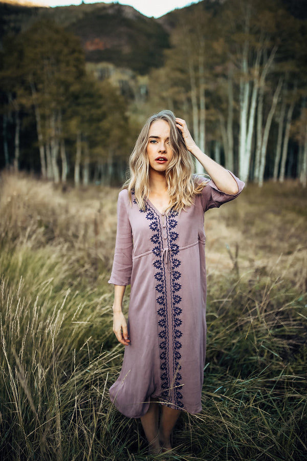 Piper & Scoot: The Cocinera Embroidered Dress in Violet
