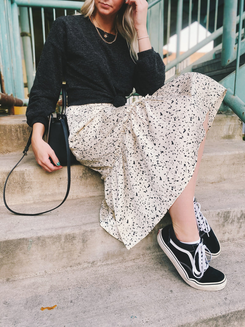 The Felicity Patterned Midi Skirt in Cream, lifestyle shoot; front view
