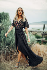 The Parkland Embroidered Wrap Dress in Charcoal