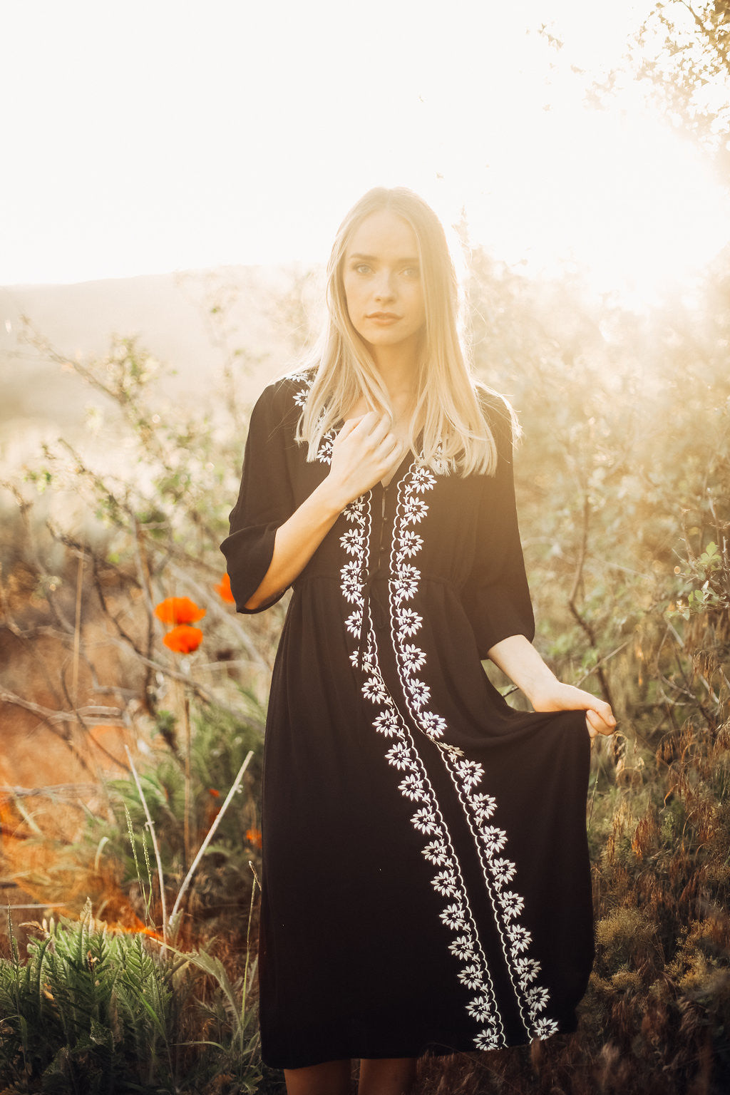 Piper & Scoot: The Cocinera Embroidered Dress in Black