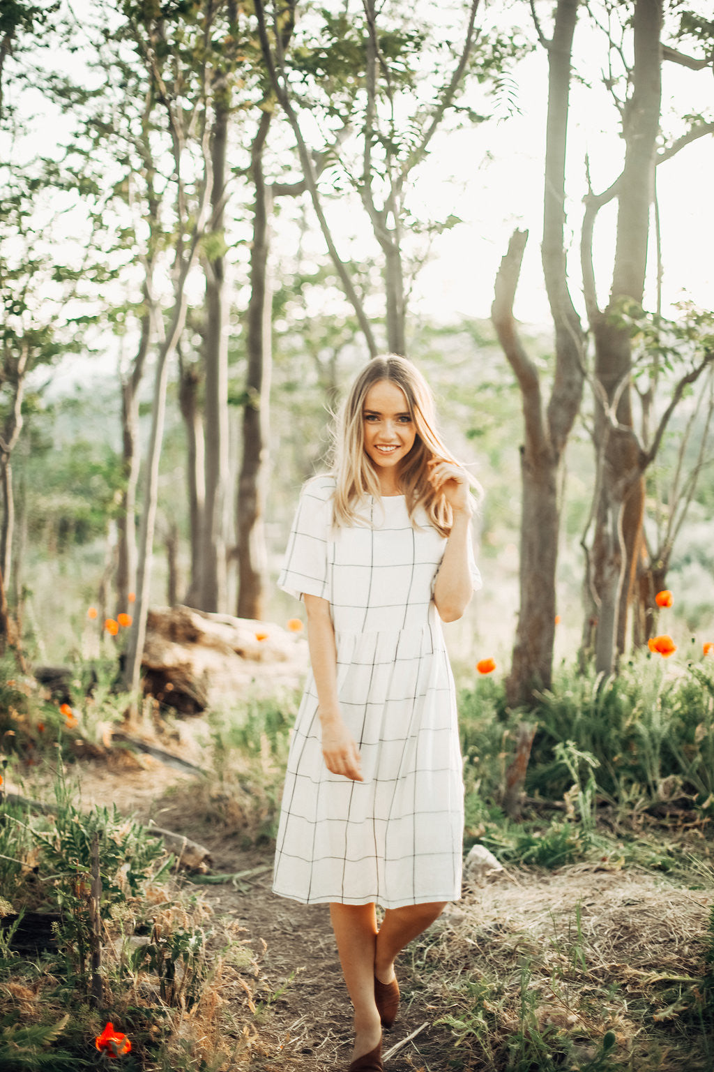 The Summer Grid Dress in White