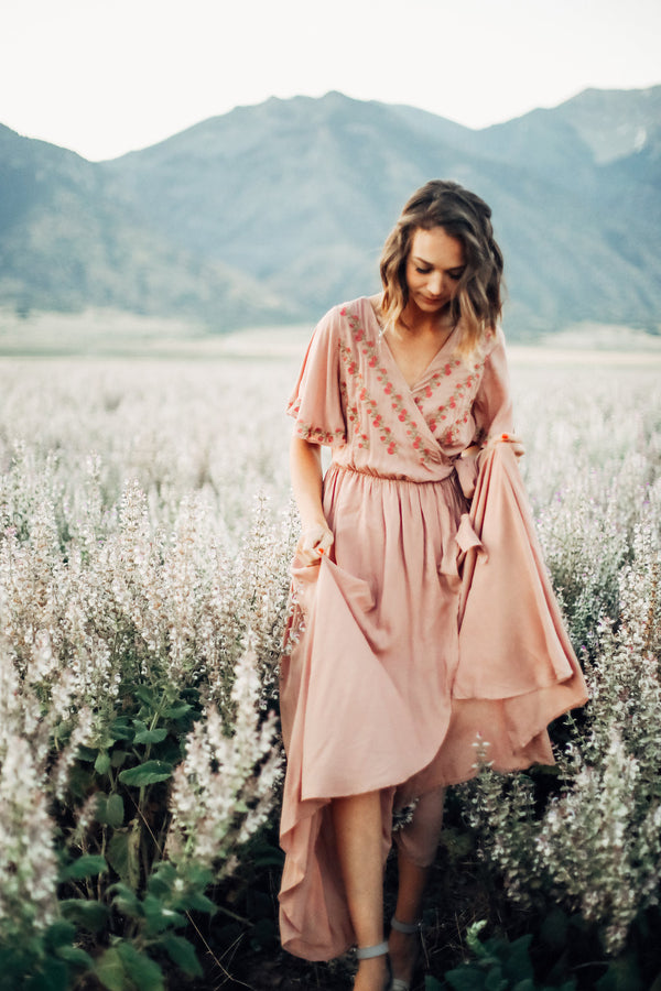 The Parkland Embroidered Wrap Dress in Mauve
