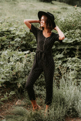 The Carver Patterned Tie Front Jumpsuit in Black