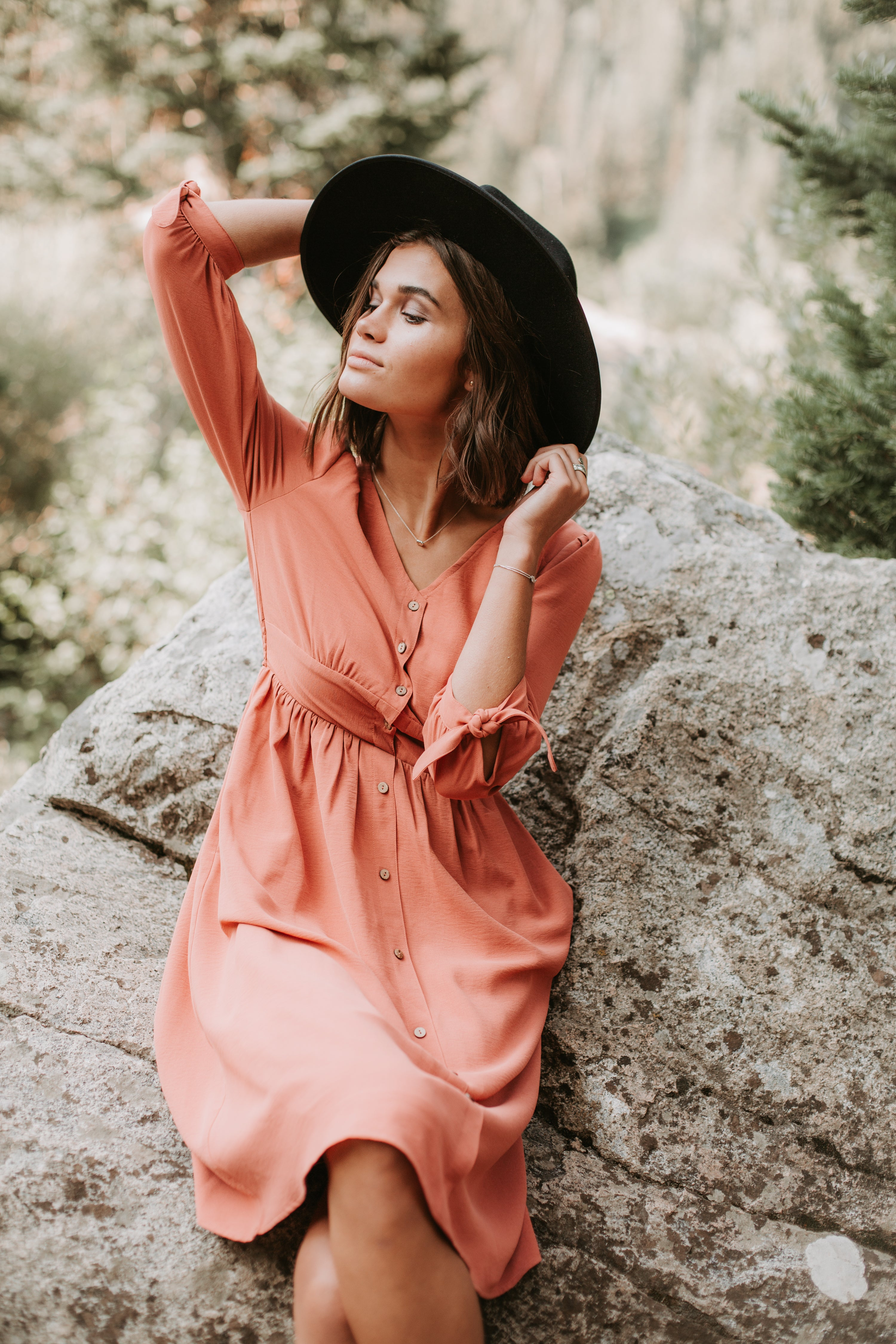 The Albion Button Midi Dress in Papaya
