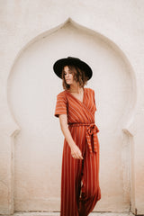 The Greene Striped Jumpsuit in Rust