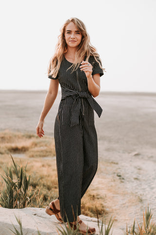 The Carbon Striped Button Up Jumpsuit in Black