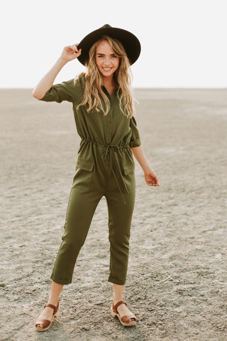 The Lula Wrap Casual Jumpsuit in Heather Grey