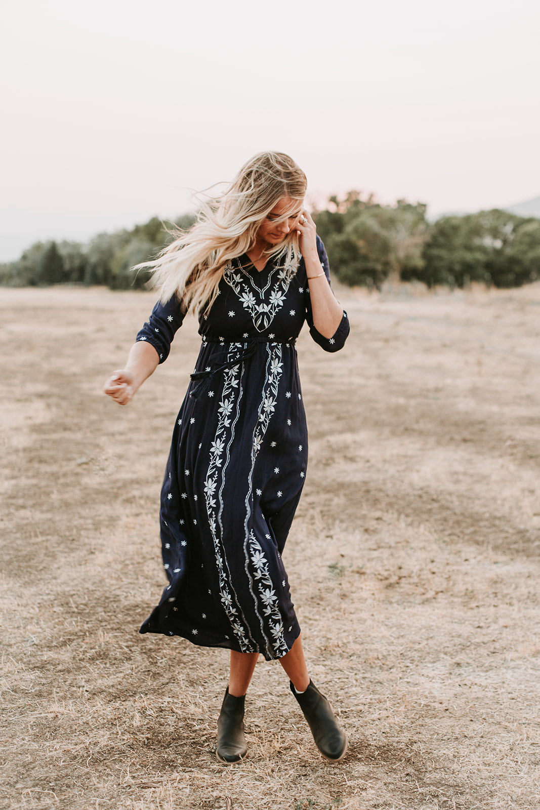 Piper & Scoot: The Avery Embroidered Dress in Navy