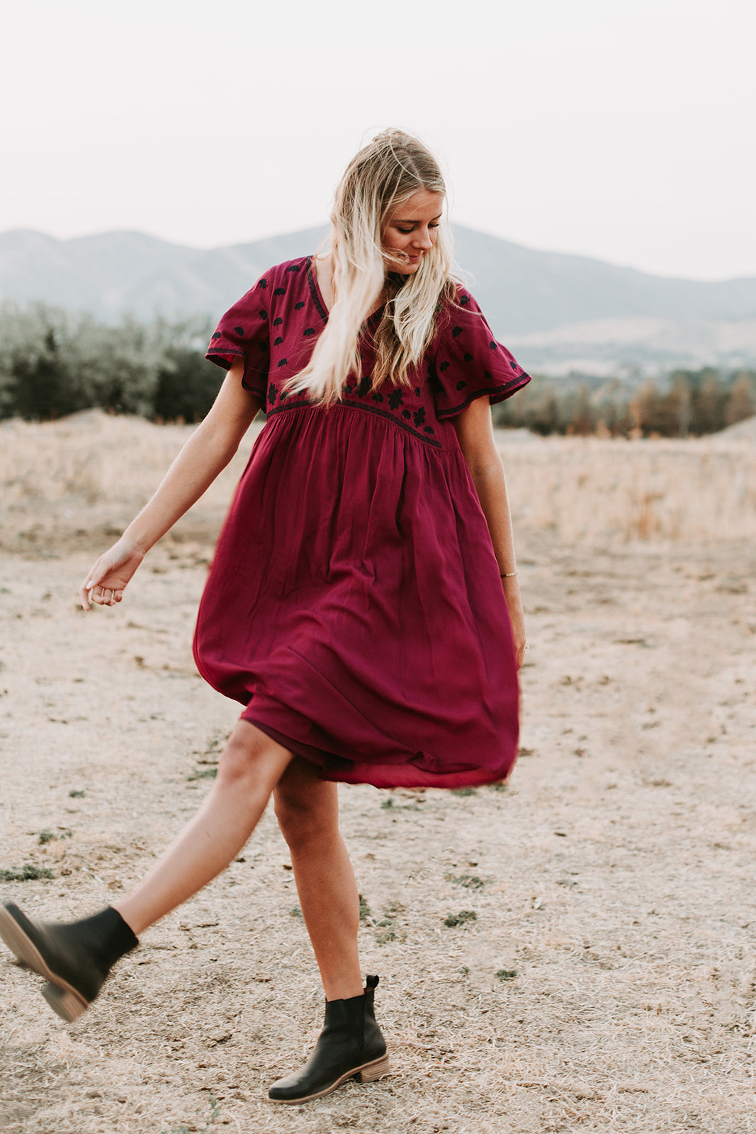 The Lany Embroidered Empire Dress in Burgundy