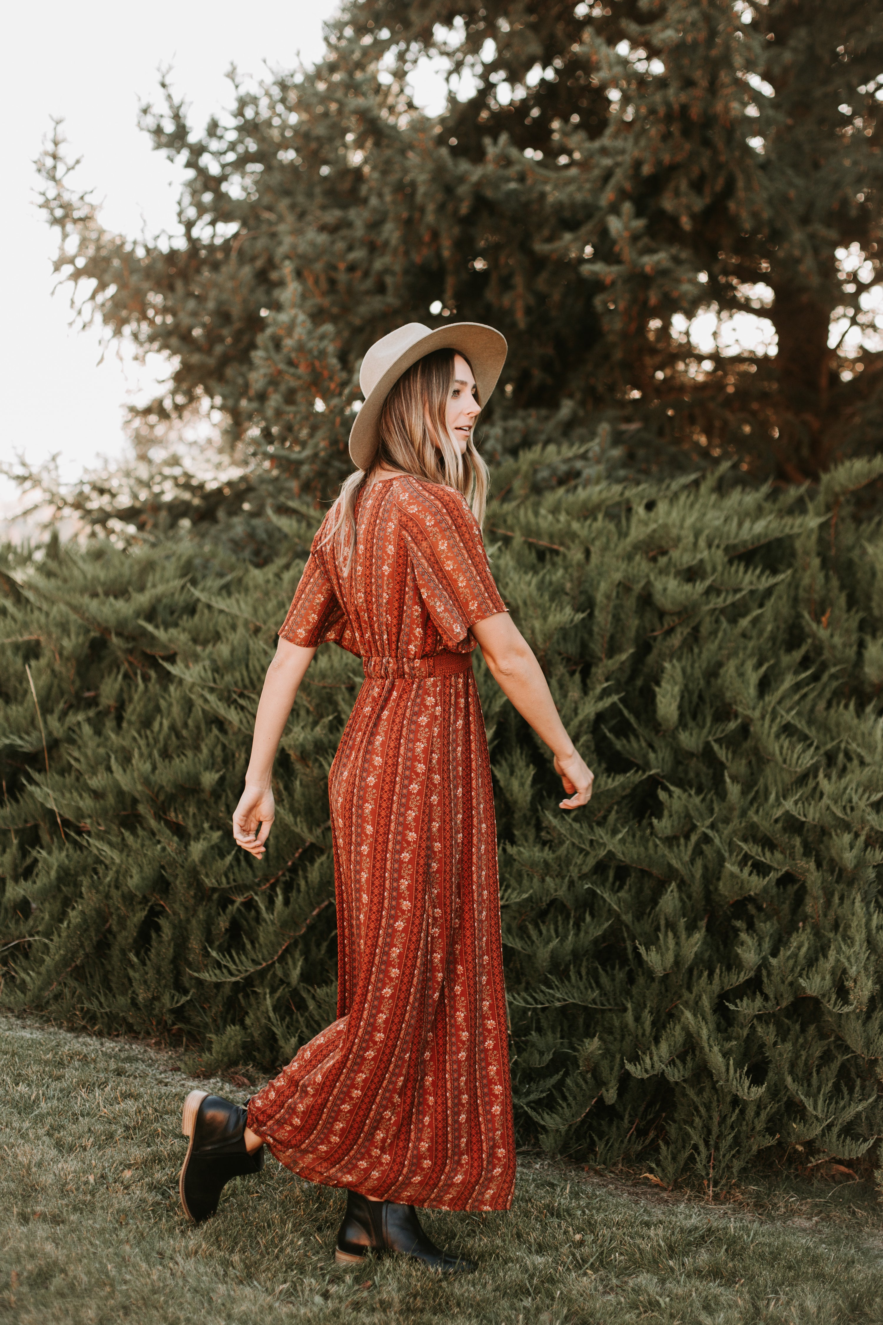 Piper & Scoot: The Lucan Embroidered Maxi Dress in Rust