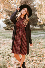The Cleveland Plaid Dress in Burgundy