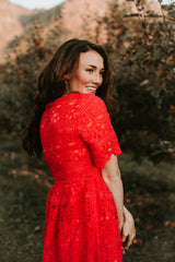 The Ogema Lace Detail Dress in Poppy