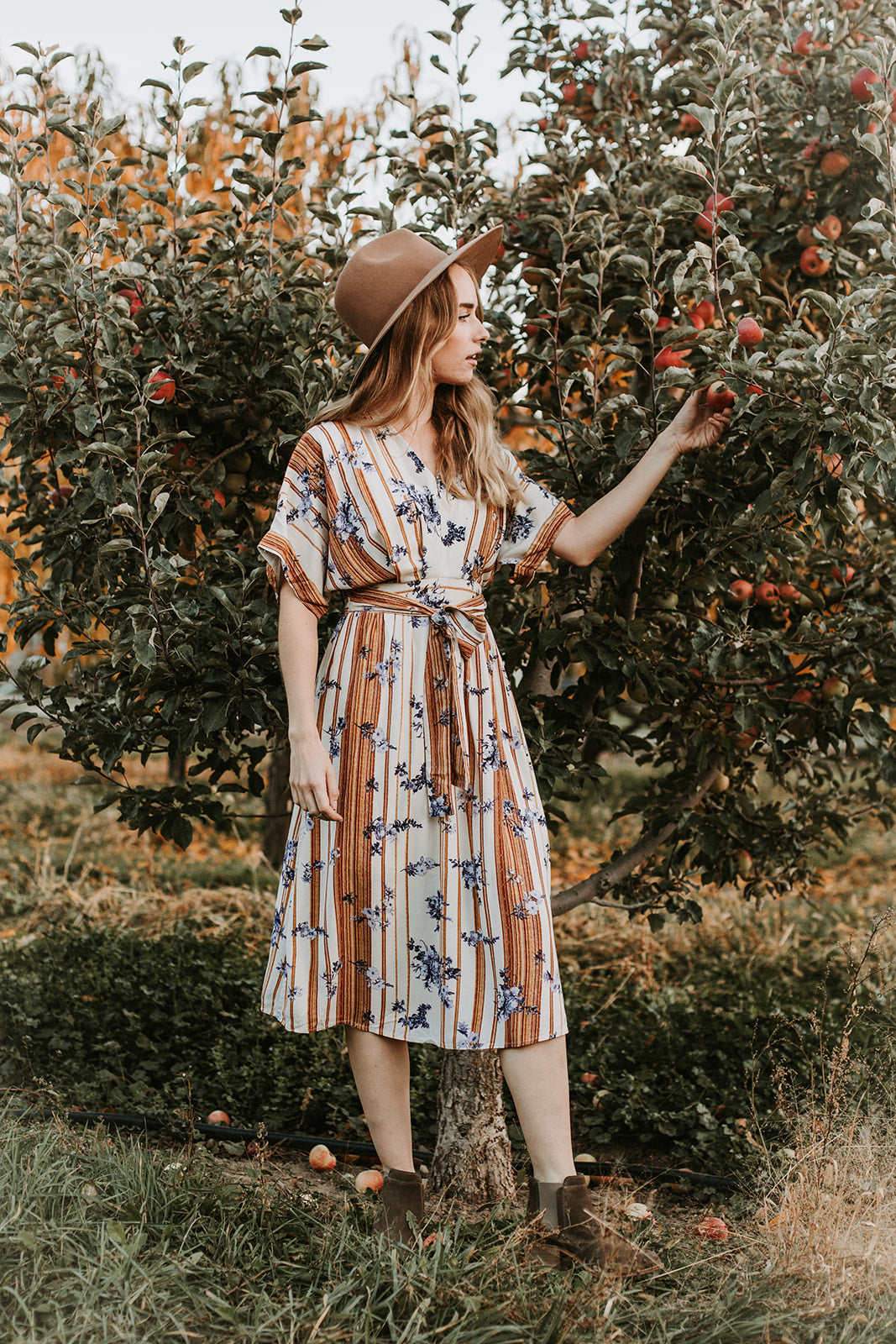 The Edina Striped Floral Tie Dress in Natural