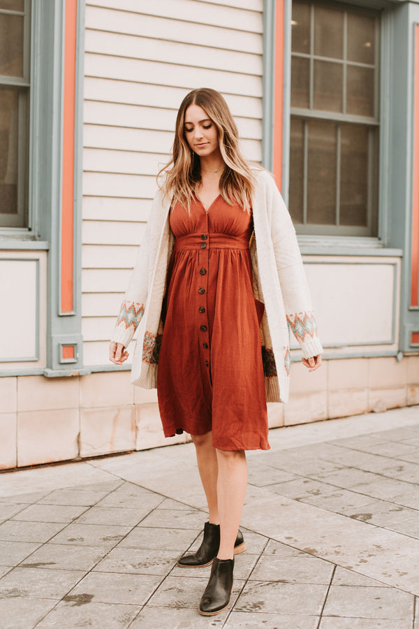 The Bainbridge Tie Sleeve Dress in Brick