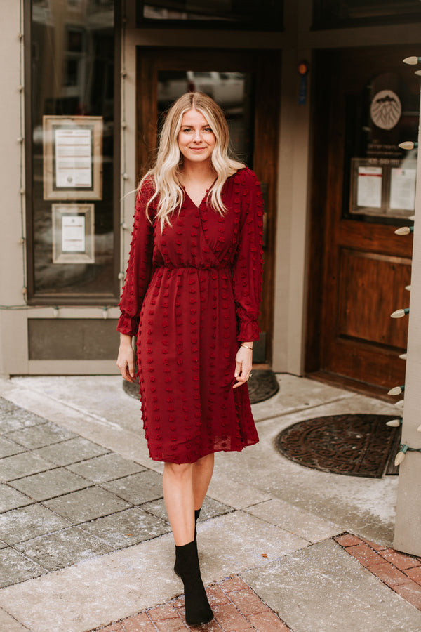 The Gwen Swiss Dot Dress in Burgundy