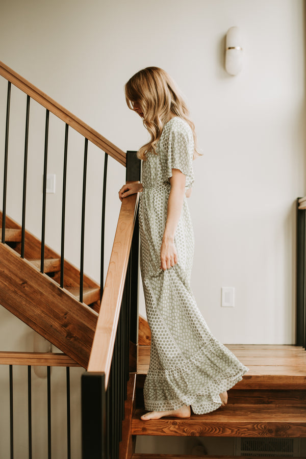 The Ashley Patterned Maxi Dress in Sage