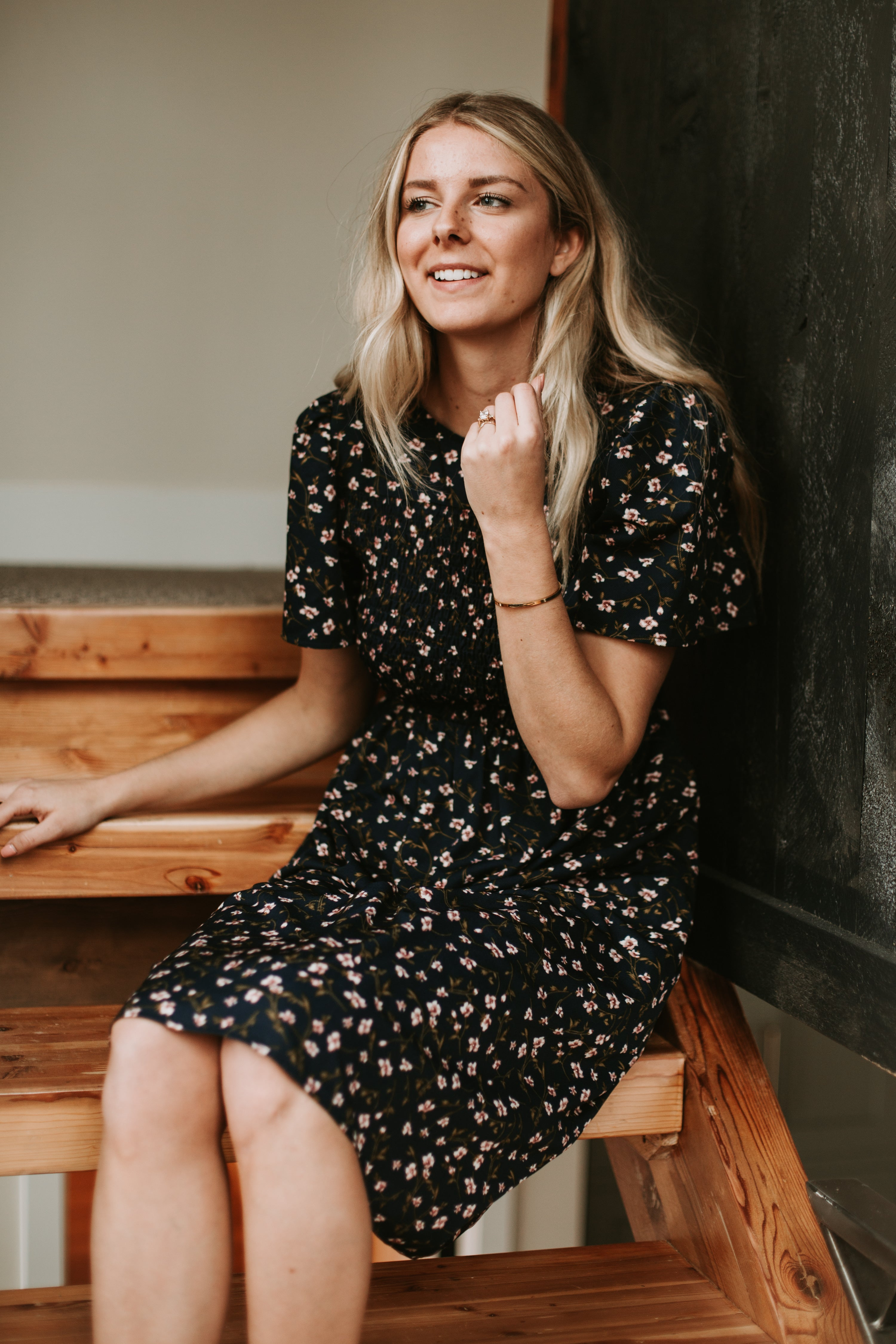 Piper & Scoot: The Jasmine Tiny Floral Dress in Navy