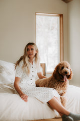The Opal Button Up Dot Dress in White