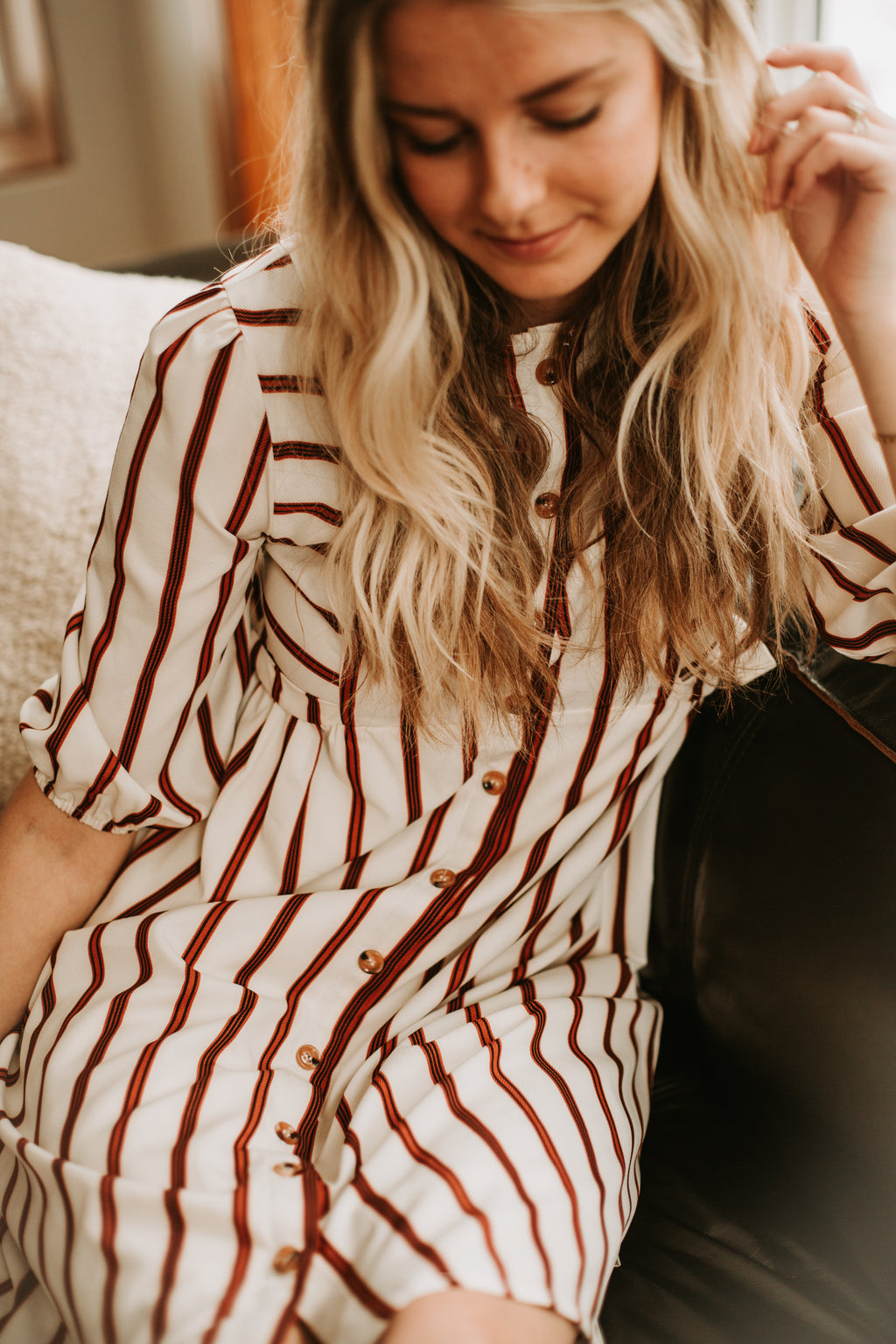Piper & Scoot: The Aubry Striped Side Tie Dress in Ivory