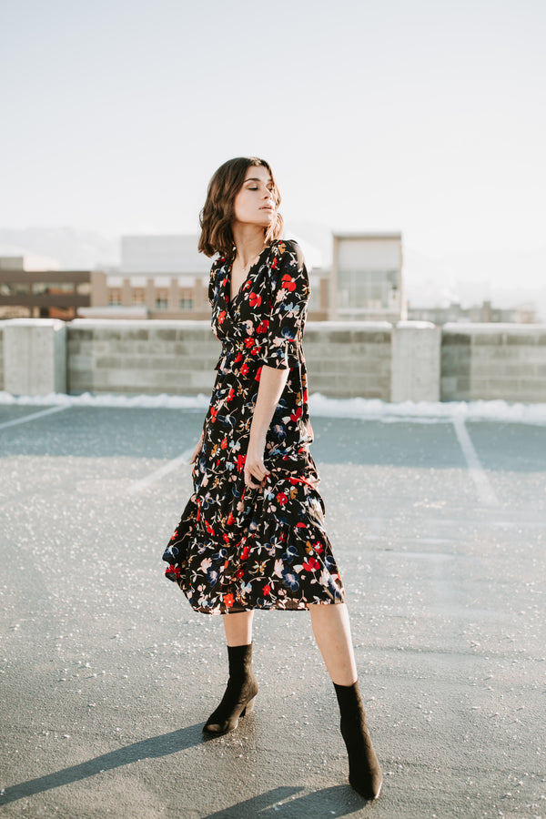The Frannie Floral Dress in Black