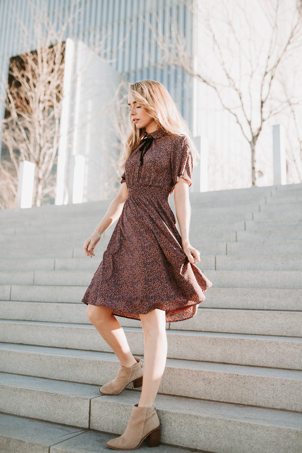 Piper & Scoot: The Shad Floral Collared Dress in Mauve