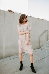 Piper & Scoot: The Pulley Patterned Tiered Dress in Taupe