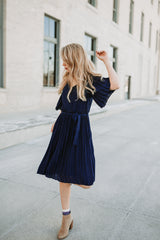 The Palisade Pleated Dress in Navy
