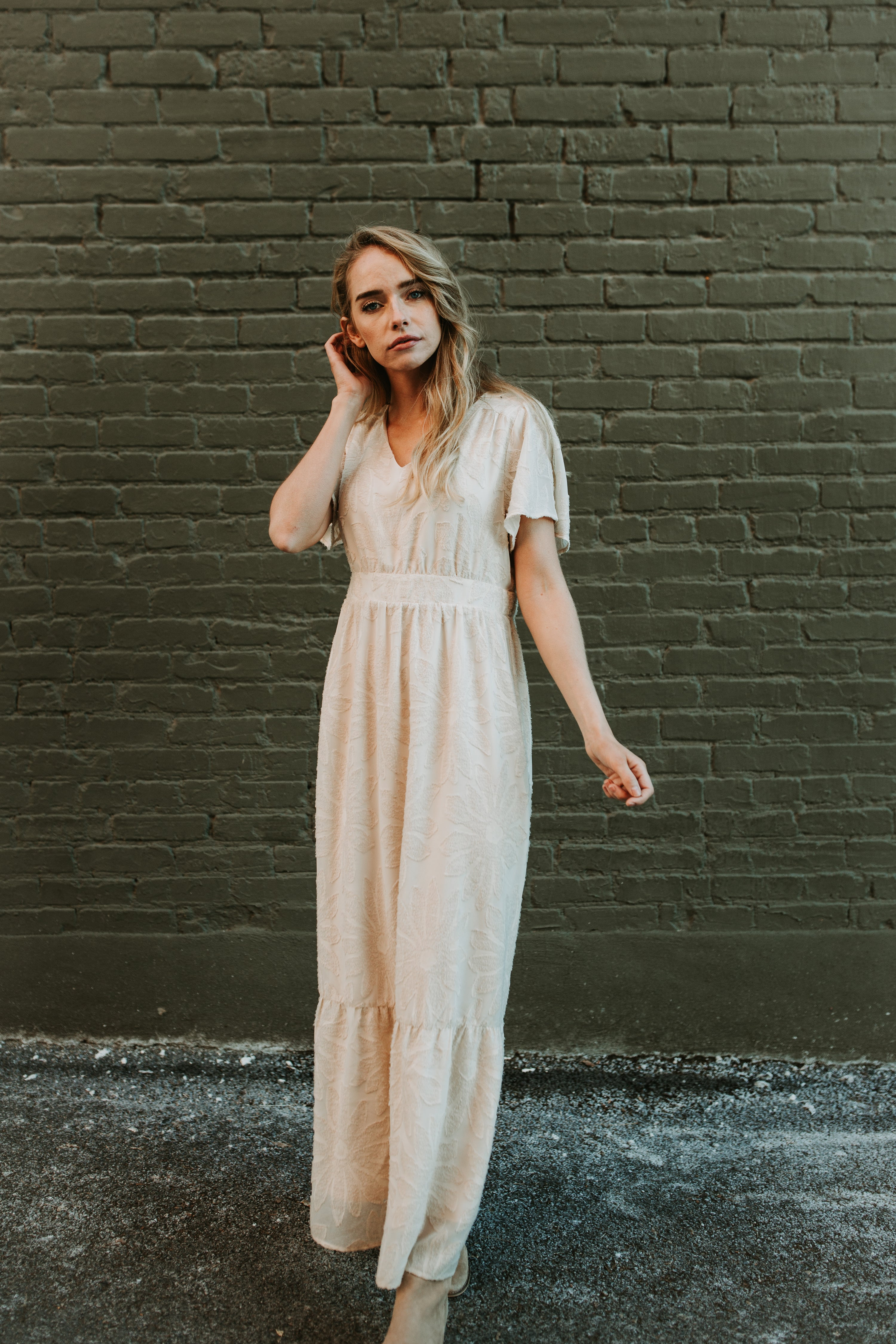 Piper & Scoot: The Theater Detail Maxi Dress in Cream