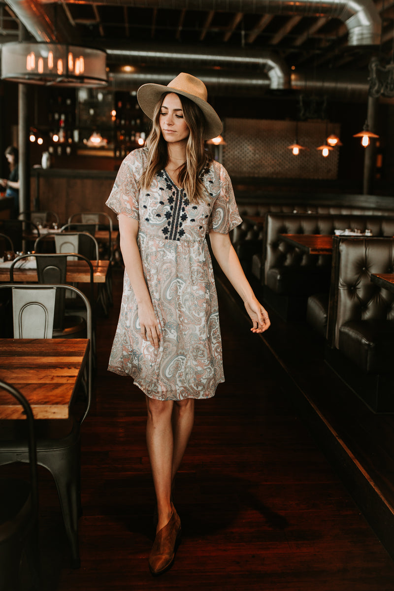 The Elle Embroidered Paisley Dress in Spring