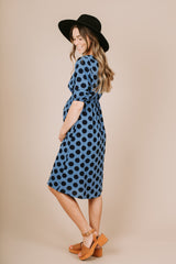 Piper & Scoot: The Michelle Dot Midi Dress in Blue