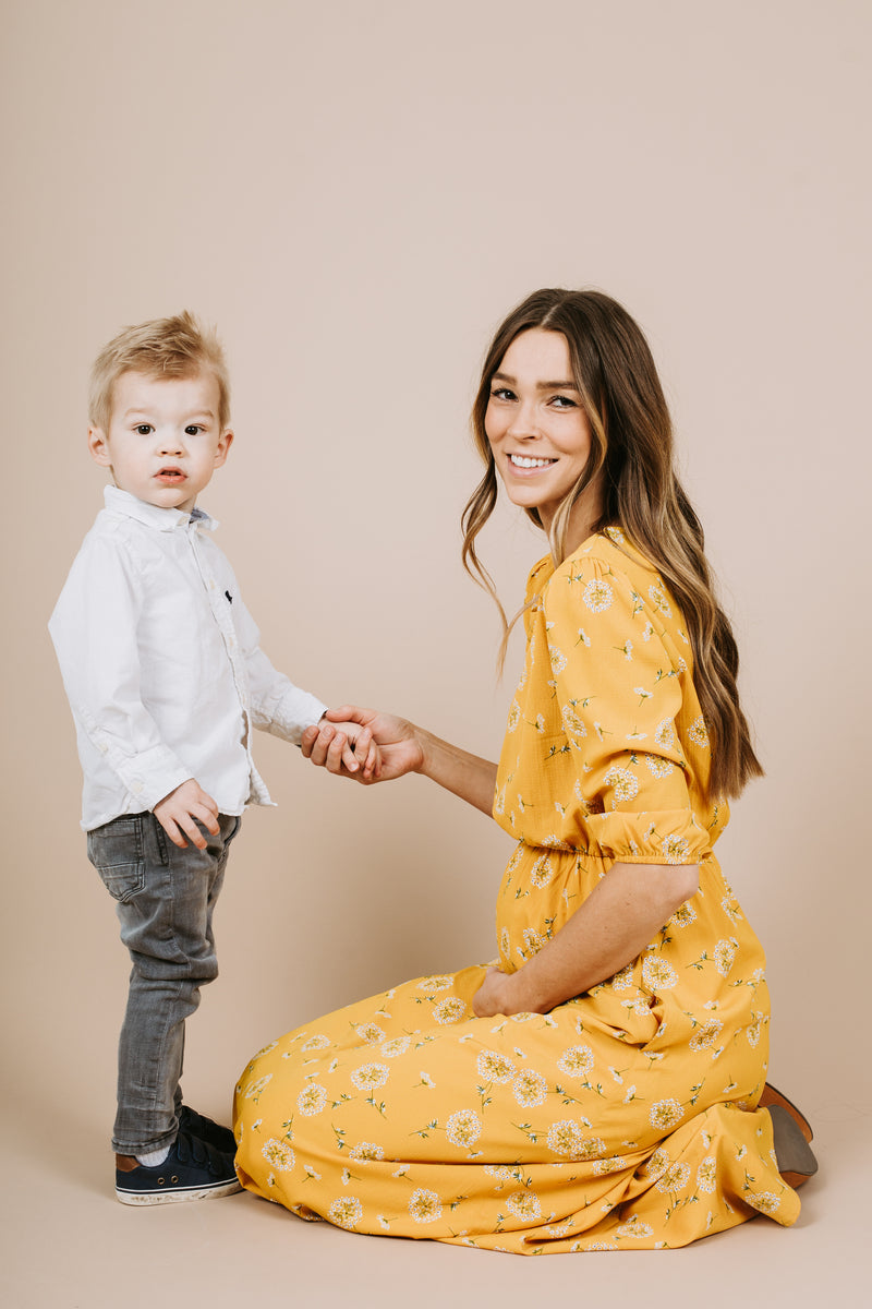 Piper & Scoot: The Holly Floral Maxi Dress in Mustard
