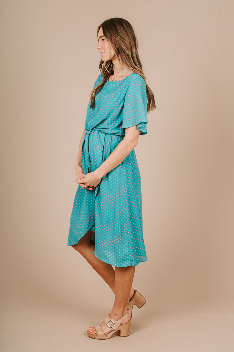 Piper & Scoot: The June Dot Cinch Wrap Dress in Teal
