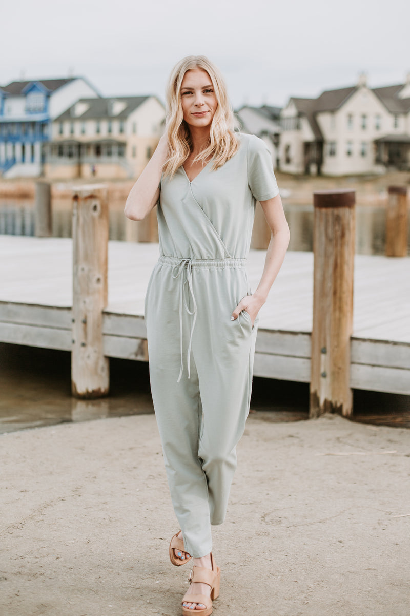 Piper & Scoot: The Debra Wrap Knit Jumpsuit in Sage