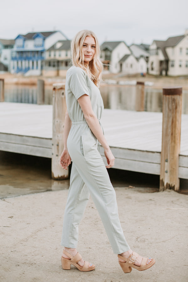 f1f4a561948 Piper   Scoot  The Debra Wrap Knit Jumpsuit in Sage