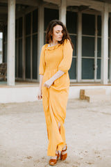 Piper & Scoot: The Carly Ruffle Maxi Dress in Mustard