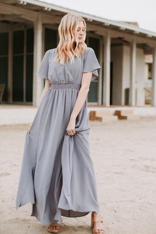 The Shayne Pleated Empire Dress in Sage