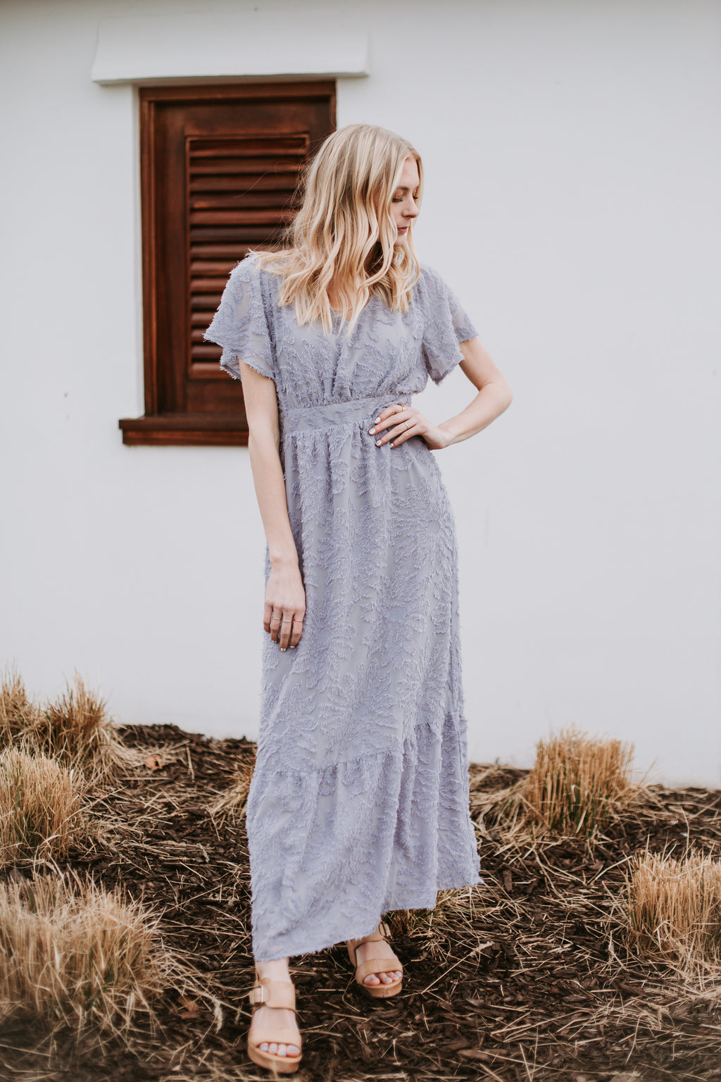 Piper & Scoot: The Theater Detail Maxi Dress in Light Grey