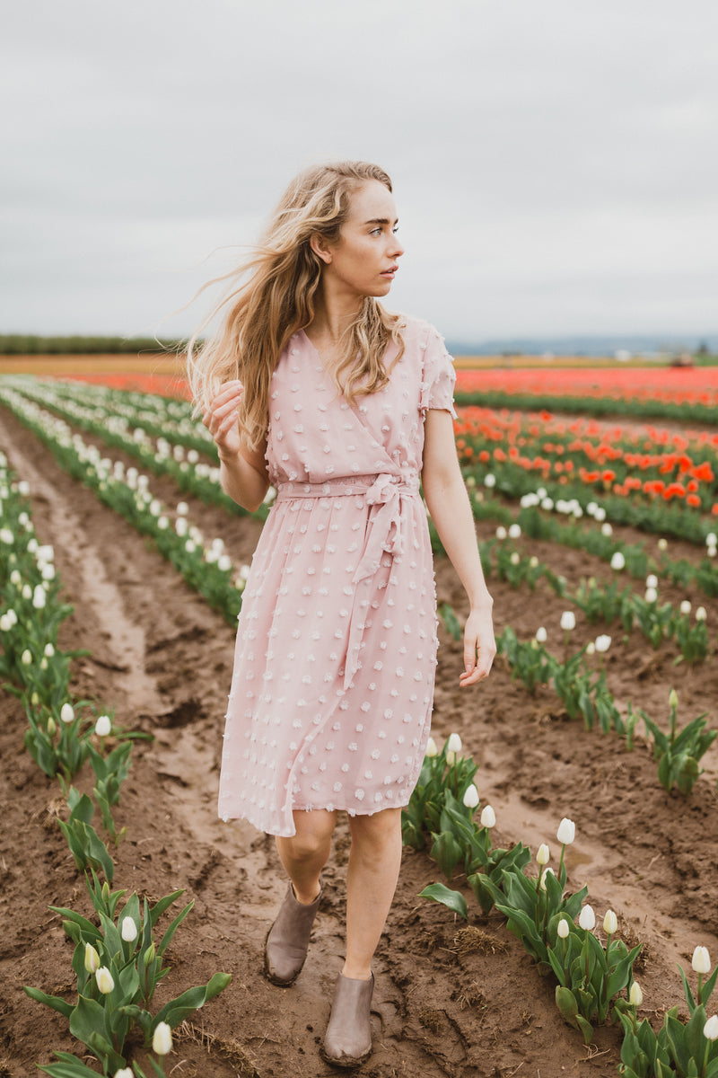 The Fluid Wrap Swiss Dot Dress in Blush