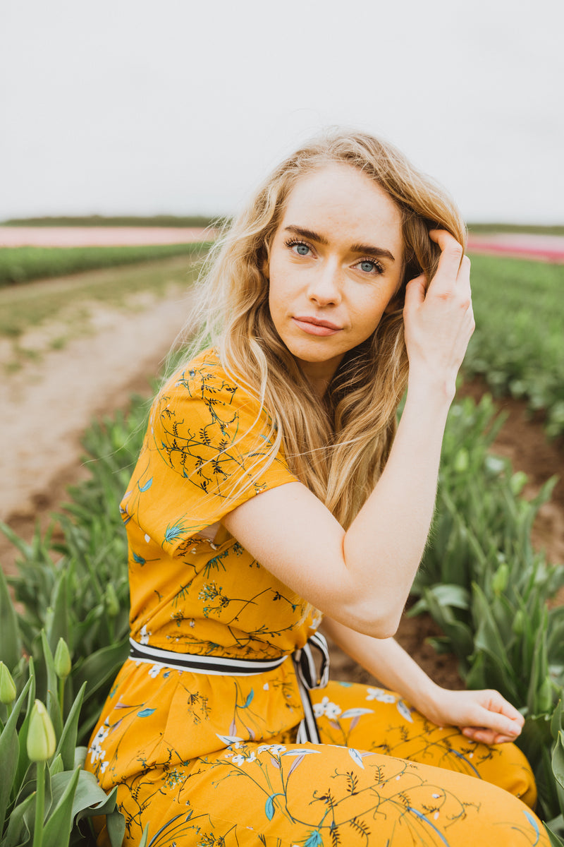 Piper & Scoot: The Emma Floral Jumpsuit in Mustard